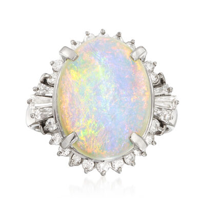 C. 1970 Vintage Opal and .71 ct. t.w. Diamond Ring in Platinum, , default