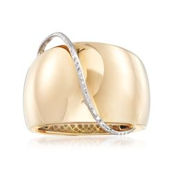 Italian 14kt Yellow Gold Dome Ring With 14kt White Gold, , default