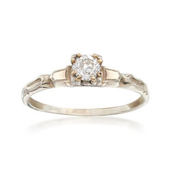 C. 1950 Vintage .35 Carat Diamond Solitaire Ring in 14kt White Gold. Size 8.5, , default