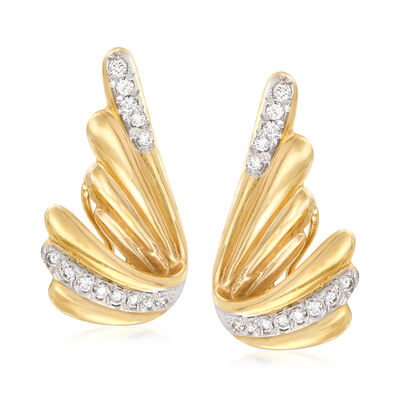 C. 1980 Vintage .70 ct. t.w. Diamond Wing-Style Earrings in 14kt Yellow Gold, , default