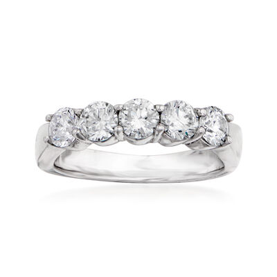 1.50 ct. t.w. 5-Stone Diamond Wedding Ring in 14kt White Gold