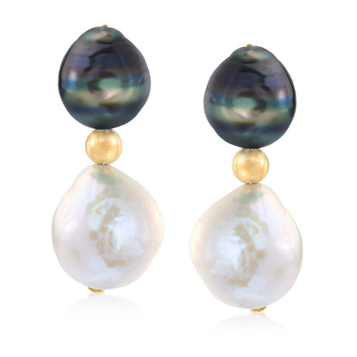 9-10mm Black Cultured Tahitian Pearl and 10-11mm Cultured Pearl Drop Earrings in 14kt Yellow Gold