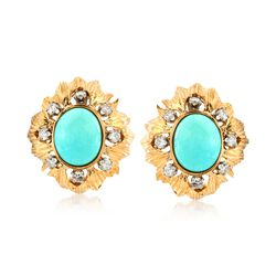 C. 1970 Vintage Turquoise and .65 ct. t.w. Diamond Floral Earrings in 14kt Yellow Gold, , default