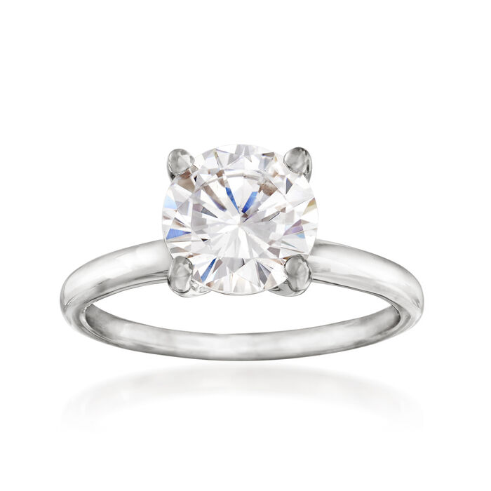 2.00 Carat CZ Solitaire Ring in 14kt White Gold