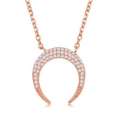 .25 ct. t.w. Pave CZ Crescent Horn Necklace in 18kt Rose Gold Over Sterling, , default