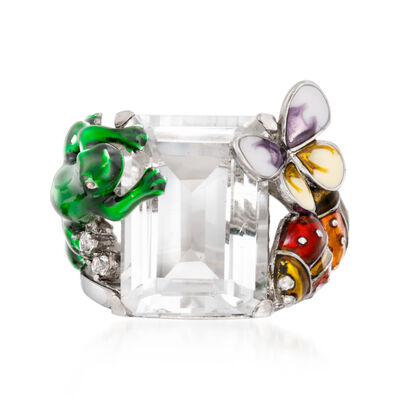 Rock Crystal and Enamel Nature Ring in Sterling Silver