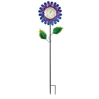 Regal Blue Buttercup Thermometer Solar Garden Stake, , default
