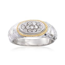 "Andrea Candela ""Eco"" .15 ct. t.w. Diamond Ring in 18kt Yellow Gold and Sterling Silver, , default"