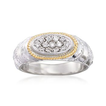 """Andrea Candela """"Eco"""" .15 ct. t.w. Diamond Ring in 18kt Yellow Gold and Sterling Silver, , default"""