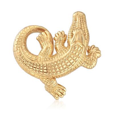 18kt Gold Over Sterling Alligator Slide Pendant, , default