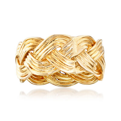 14kt Yellow Gold Braided Ring, , default