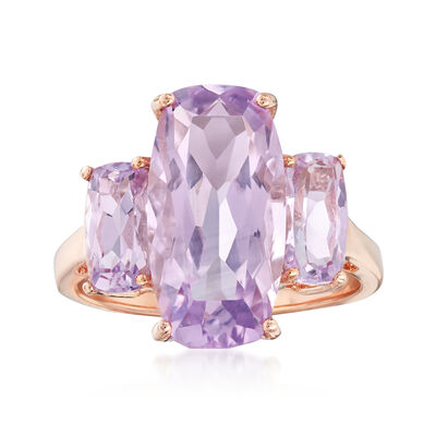 7.30 ct. t.w. Amethyst Three-Stone Ring in 14kt Rose Gold, , default