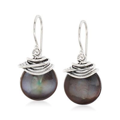 13mm Black Cultured Coin Pearl Drop Earrings in Sterling Silver