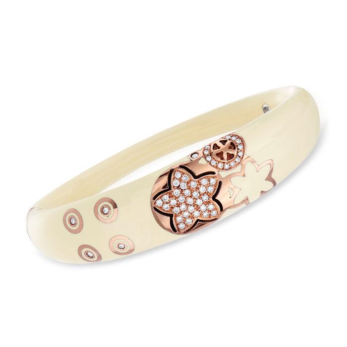 """C. 1990 Vintage Nouvelle Bague .70 ct. t.w. Diamond Floral Bangle Bracelet in 18kt Rose Gold. 7.5"""""""