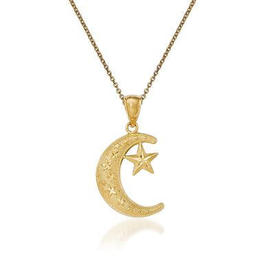 14kt Yellow Gold Moon and Star Pendant Necklace