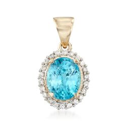 4.60 Carat Blue Zircon and .22 ct. t.w. Diamond Pendant in 14kt Yellow Gold, , default