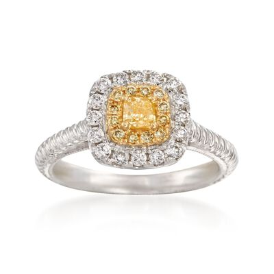 .52 ct. t.w. White and Yellow Diamond Ring in 18kt Two-Tone Gold