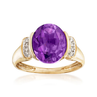 3.20 Carat Amethyst Ring with Diamond Accents in 14kt Yellow Gold, , default