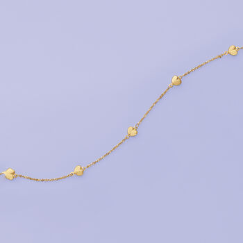 """14kt Yellow Gold Heart Station Anklet. 9"""", , default"""