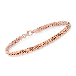 Italian 14kt Rose Gold Cuban-Link Bracelet, , default