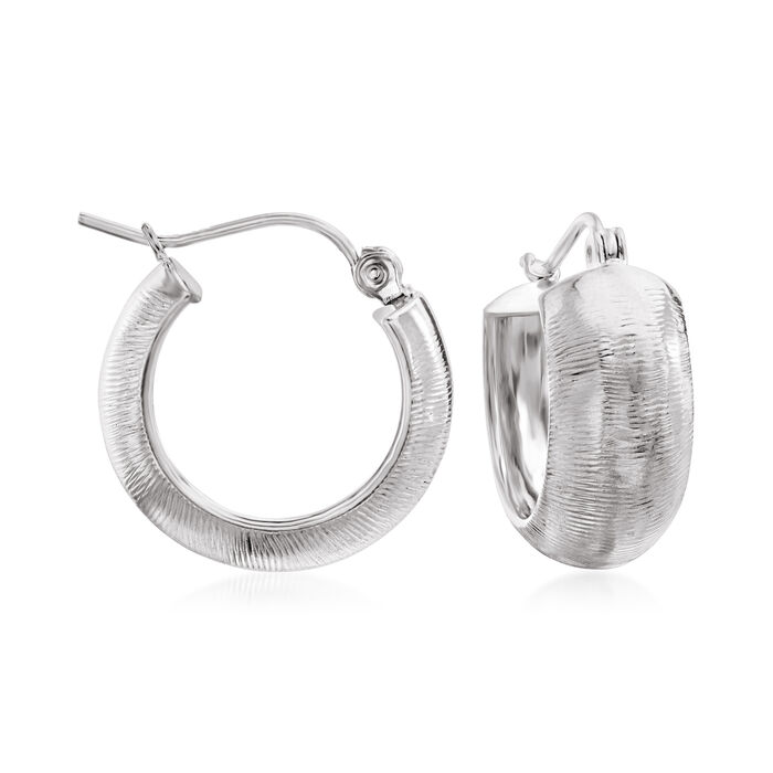 """14kt White Gold Textured and Polished Huggie Hoop Earrings. 5/8"""""""