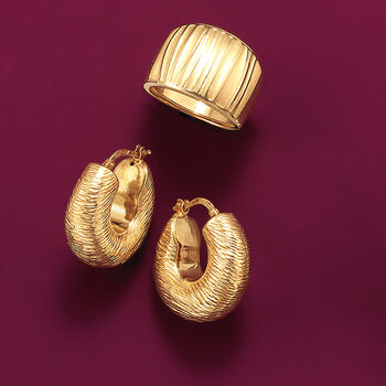 "Italian 18kt Yellow Gold Textured and Puffed Hoop Earrings. 7/8"", , default"