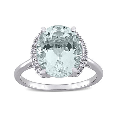 4.20 Carat Aquamarine Ring with Diamond Accents in Sterling Silver