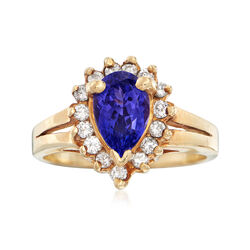 C. 1990 Vintage 2.10 Carat Tanzanite and .35 ct. t.w. Diamond Ring in 14kt Yellow Gold. Size 8, , default