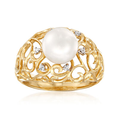 8.5-9mm Cultured Pearl Ring with Diamond Accents in 14kt Yellow Gold, , default