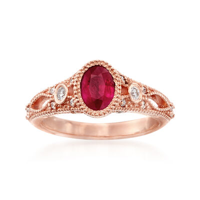 Ruby and .25 ct. t.w. Diamond Ring in 14kt Rose Gold, , default