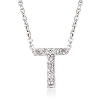 "Roberto Coin ""Tiny Treasures"" Diamond Accent Initial ""T"" Necklace in 18kt White Gold. 16"", , default"