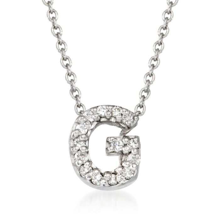 "Roberto Coin ""Love Letter"" Diamond Accent Initial ""G"" Necklace in 18kt White Gold. 16"""