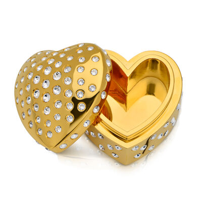 Crystamas Swarovski Crystal 24kt Gold-Plated Heart Box