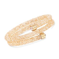"Swarovski Crystal ""Dust"" Golden Crystal Coil Bracelet in Stainless Steel, , default"