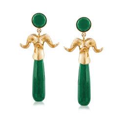 Italian Green Agate Ram's Head Drop Earrings in 18kt Gold Over Sterling, , default