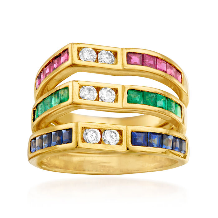 C. 2000 Vintage 2.80 ct. t.w. Multi-Gemstone and .30 ct. t.w. Diamond Ring in 20kt Yellow Gold. Size 8.25, , default