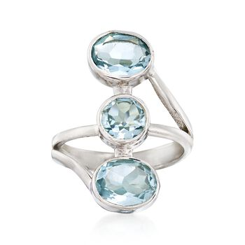 5.70 ct. t.w. Blue Topaz Triple-Stacked Ring in Sterling Silver , , default