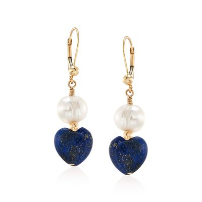 8-8.5mm Cultured Semi-Baroque Pearl and Lapis Heart Bead Drop Earrings in 14kt Gold, , default