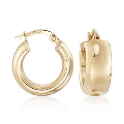 14kt Yellow Gold Shiny Wide Hoop Earrings, , default