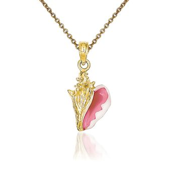 """14kt Yellow Gold Conch Shell Pendant Necklace. 18"""", , default"""