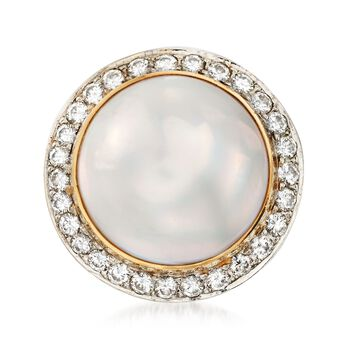 C. 1980 Vintage 17mm Mabe Pearl and 1.15 ct. t.w. Diamond Dome Ring in 14kt Yellow Gold. Size 5.5, , default