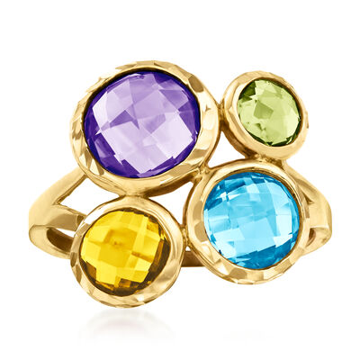 4.10 ct. t.w. Multi-Gemstone Ring in 14kt Yellow Gold, , default
