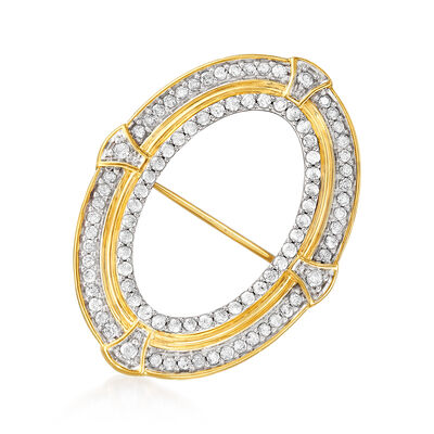 1.00 ct. t.w. Diamond Open-Oval Pin in 18kt Yellow Gold Over Sterling Silver, , default