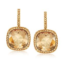 "Swarovski Crystal ""Latitude"" Golden Crystal Frame Drop Earrings in Gold Plate , , default"