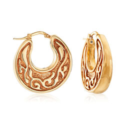 Italian 14kt Yellow Gold Scroll Design Tapered Hoop Earrings, , default