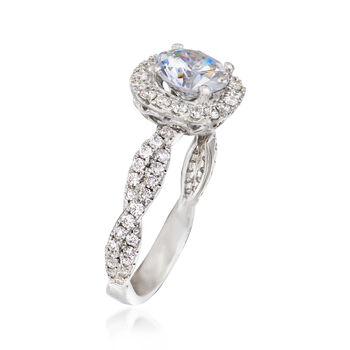 .58 ct. t.w. Diamond Crisscross Halo Engagement Ring Setting in 14kt White Gold, , default