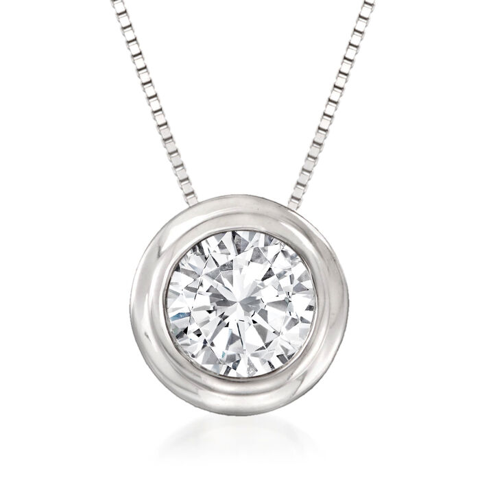 1.00 Carat Bezel-Set Diamond Solitaire Necklace in 14kt White Gold