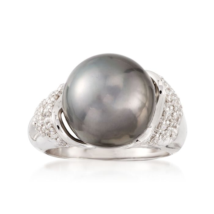 12-13mm Black Tahitian Cultured Pearl and .26 ct. t.w. Diamond Ring in 14kt White Gold, , default