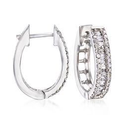 1.02 ct. t.w. Baguette and Round Diamond Hoop Earrings in 14kt White Gold, , default