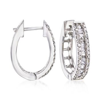 "1.02 ct. t.w. Baguette and Round Diamond Hoop Earrings in 14kt White Gold. 5/8"", , default"